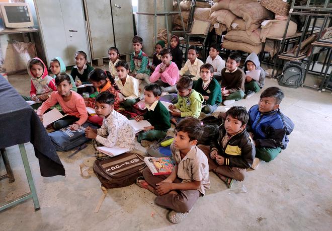 No winter uniforms yet, govt school students brave chill