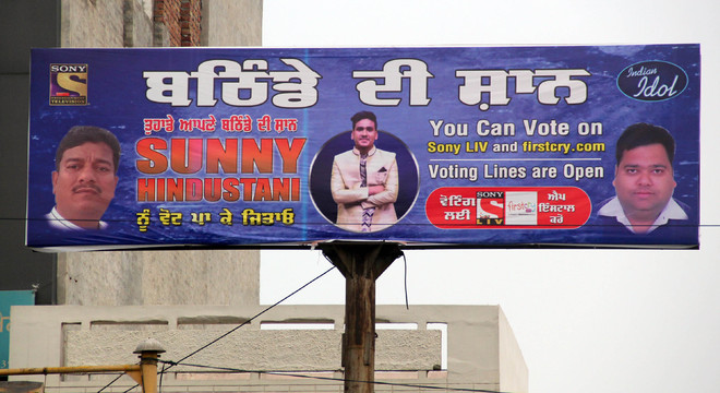 Hoardings seeking support for Sunny in reality show Indian Idol come up in city