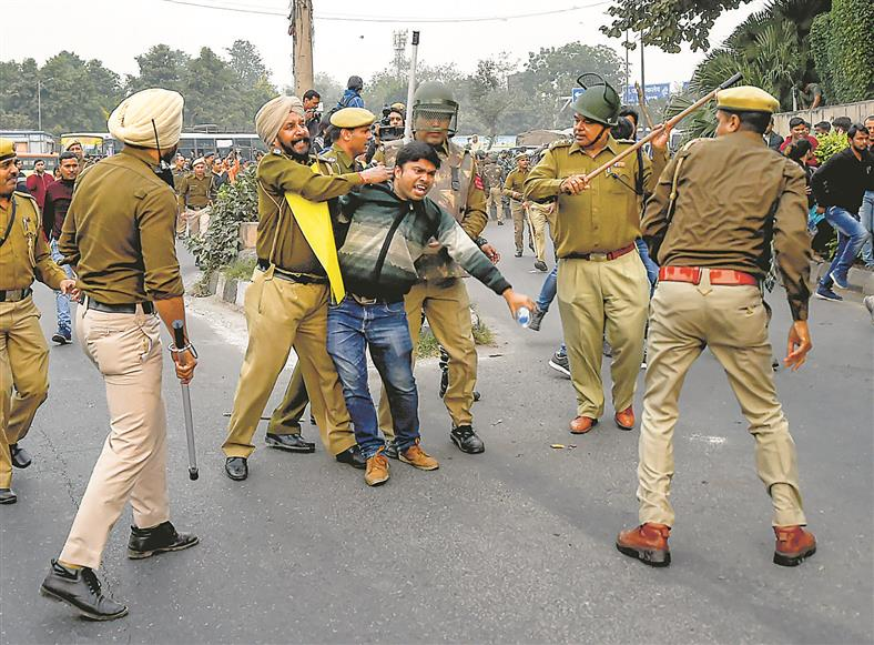 JNU students hold march, lathicharged