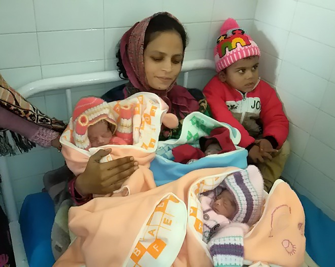 Woman gives birth to triplets