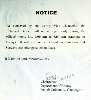 PU restricts timings of botanical garden