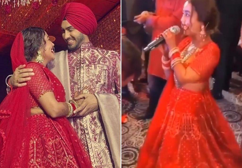 Watch Neha Kakkar's grand entry for varmala ceremony with Rohanpreet Singh; sings 'Is zubaan pe Rohan da naam hai'