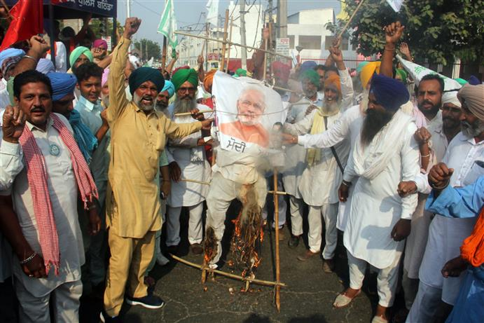 Farmers hold protests across Punjab over new farm reform laws, burn effigies of PM Modi
