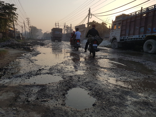 Damaged Rahon Road nightmare for commuters