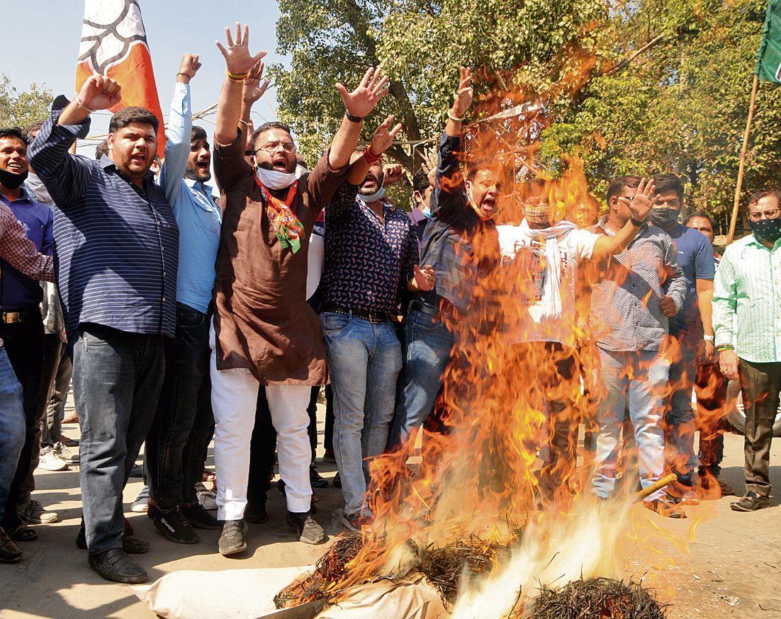 BJYM activists hold protest against attack on Punjab BJP president Ashwani Sharma