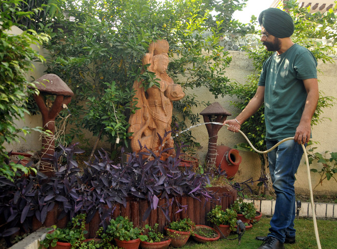 Grooming his garden is a meditative exercise for this artist