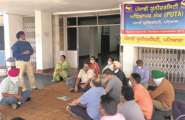 PUTA continues protest outside Punjabi University VC's office
