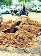 Day after recarpeting, Patiala MC digs up road in Chhoti Baradari to lay sewer