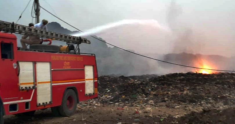 Burning of garbage at dumping ground near Sanauri Adda has residents fuming