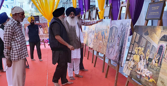 Sikh history depicted on canvas