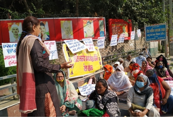 Women activists hold protest against 3 farm laws in Rohtak
