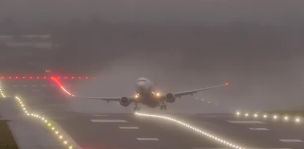 Watch the heart-stopping moment a plane is blown sideways by Storm Ciara