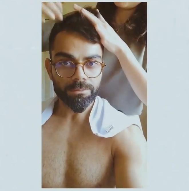Anushka Gives Virat A New Hair Cut