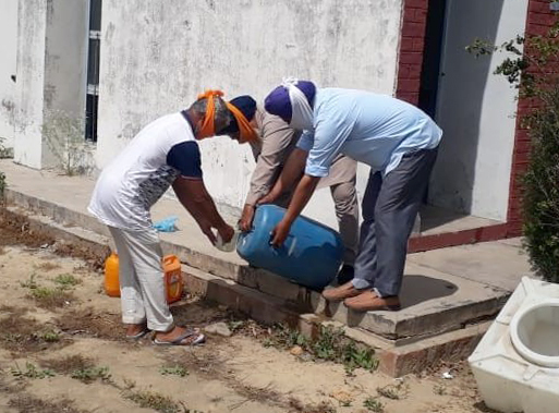 Water supply, sanitation workers  on duty without protective gear