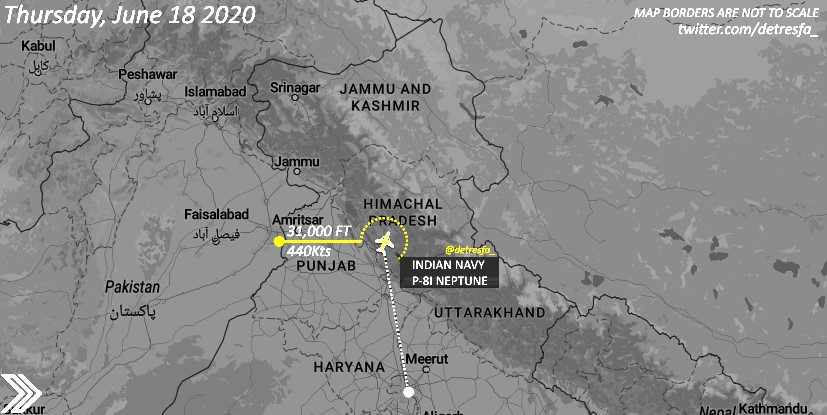 Plane-spotters post on Twitter track of Indian Navy's surveillance aircraft moving towards Ladakh