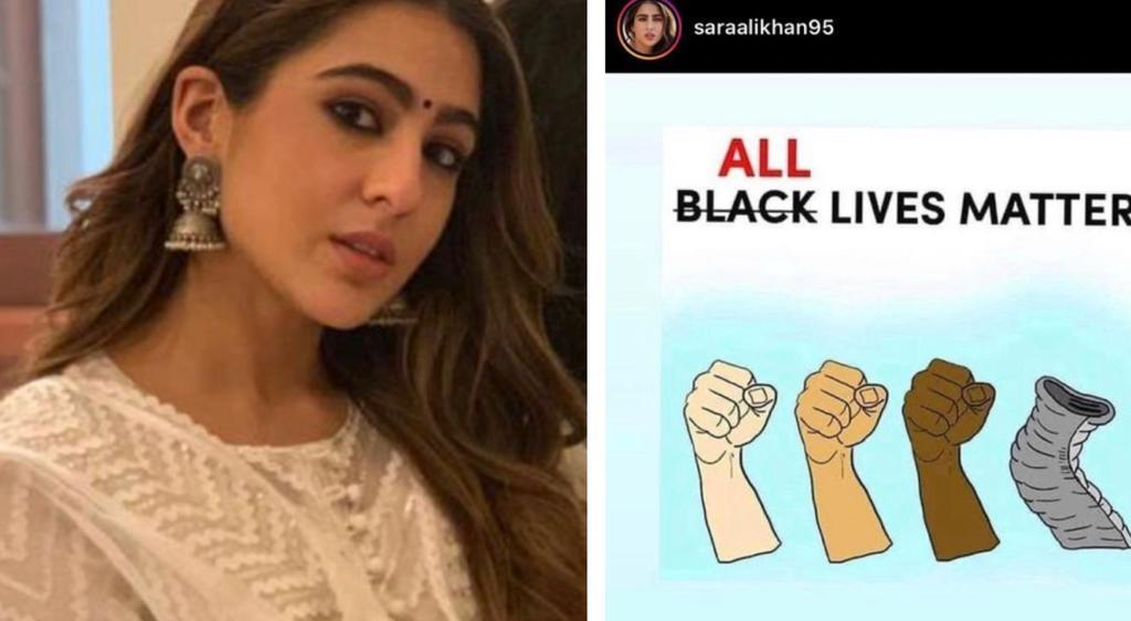 Sara Ali Khan faces outrage for posting 'All Lives Matter' and striking the word 'Black'