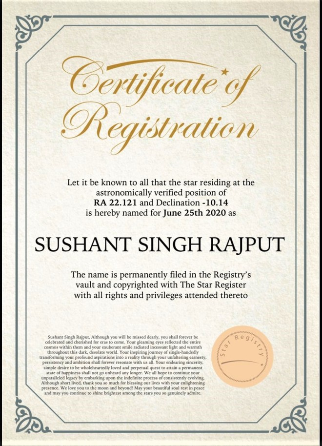 A fan has registered a star in the name of 'Sushant Singh Rajput'