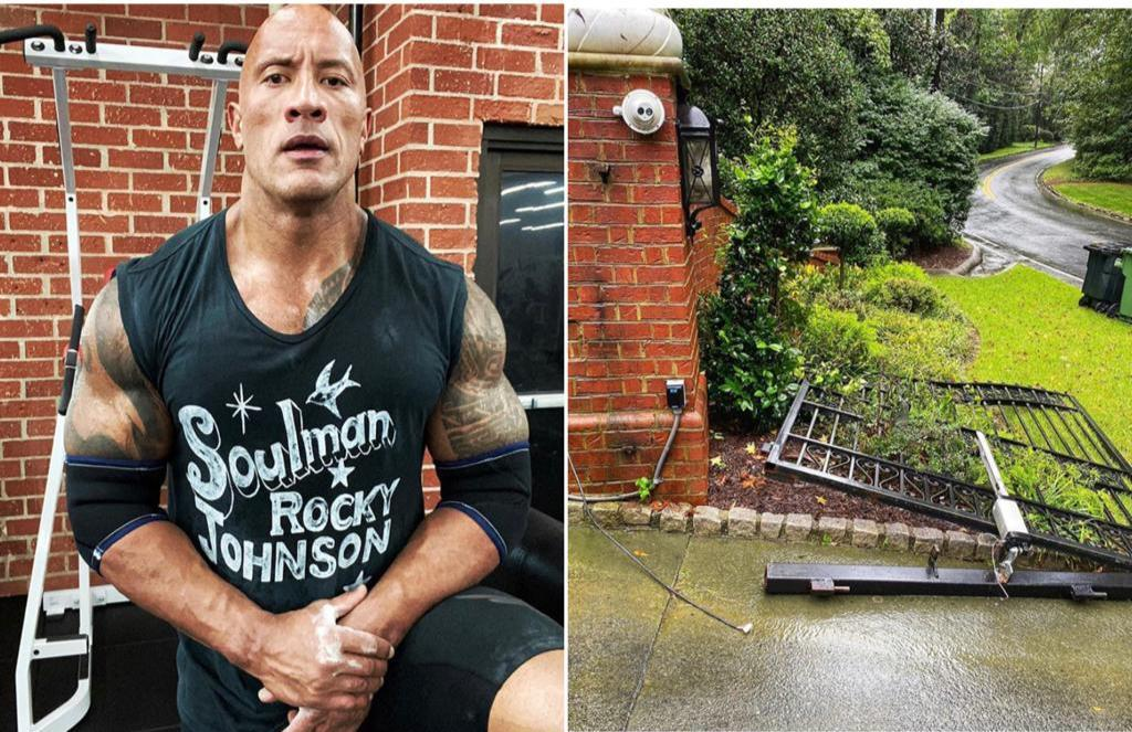 Dwayne 'The Rock Johnson rips out security gate after power failure