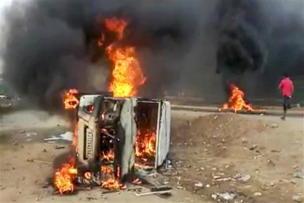 Dungarpur row: Protesters torch vehicle, vandalise property; Rapid Action Force deployed