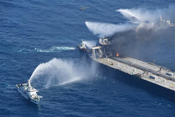 Supertanker fire off Sri Lanka under control as navy tows it away