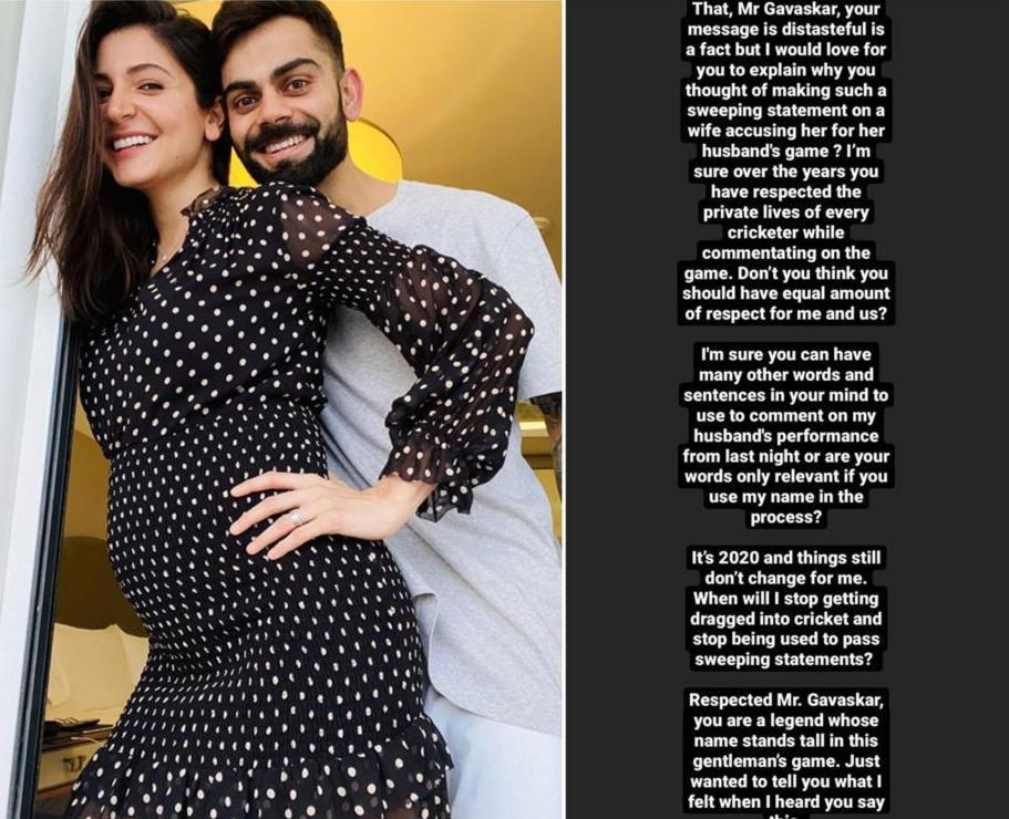 Distasteful': Anushka Sharma snaps at Sunil Gavaskar for 'sexist remark' at  husband Virat Kohli's IPL game