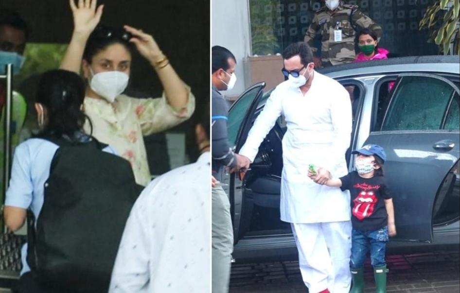 Kareena Kapoor Khan with hubby Saif Ali Khan jet off to mystery location with son Taimur; pictures and videos surface