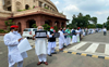 Ahead of their meeting with President, opposition MPs take out march against farm Bills
