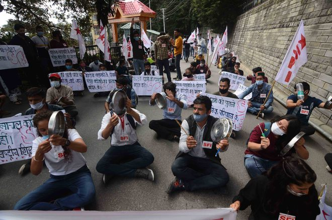 SFI protests at Vidhan Sabha to oppose News Education Policy