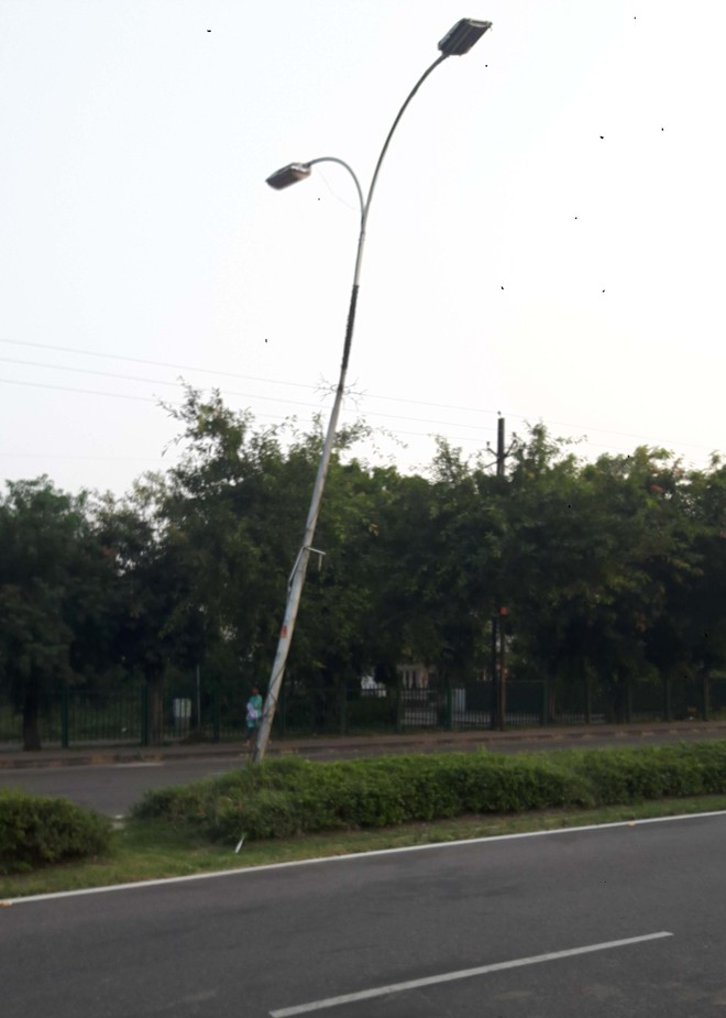 Tilted high-risk electricity poles in Panchkula